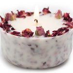 Organic Soy Candle with Real rose buds and Rose scent