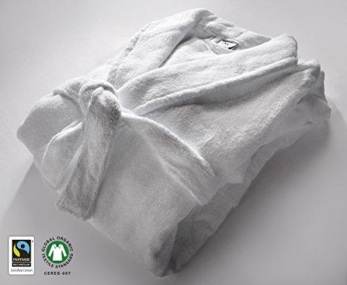 100% Organic GOTS & Fairtrade Cotton Hotel Quality White Towels 550gsm (Bathrobe Large)