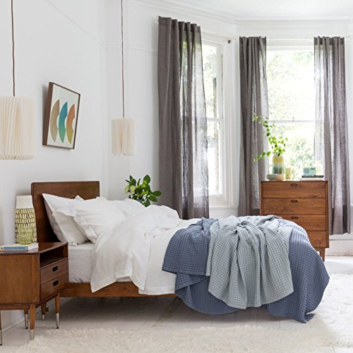 100% Pure French Linen Bed Linen - Fitted Sheet (White, Single)