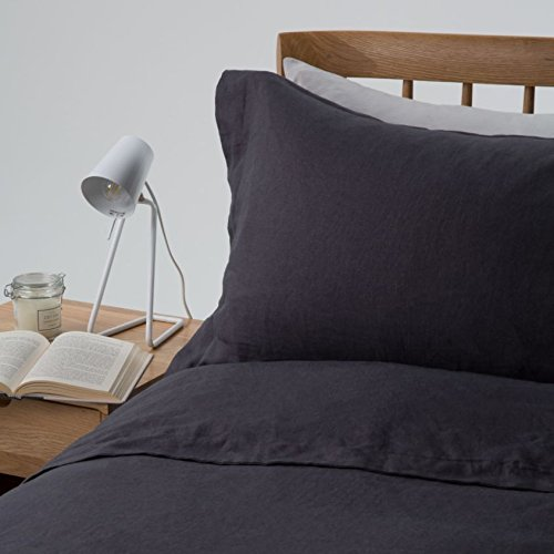 100% Pure French Linen - Double Flat Sheet - Midnight Grey