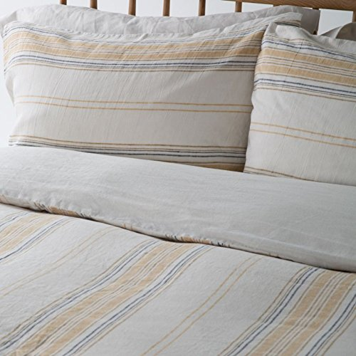 100% PURE FRENCH LINEN- Natural Stripe - Superking Pillowcases