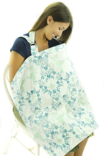 Nursing Cover - Breathable Cotton Breastfeeding Apron – Blue Green Floral Design - Baby Feeding