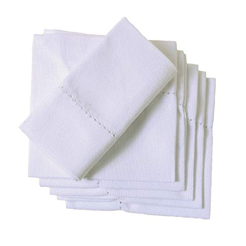 Organic Cotton Dinner Napkins - Set of 6 (20 x 20 inch) Cotton Dinner Cloth Napkins for Dinner, Events, Weddings, Tailored with Hemstitched Mitered corners and a generous hem